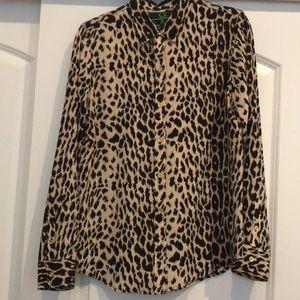 100% Silk C Wonder Leopard Print Blouse